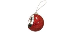 "HO1 - 2"" Insert Holder Red Glitter Ornament"